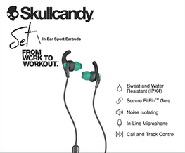Skull Candy Set Sport In Ear Grey Green Headphones