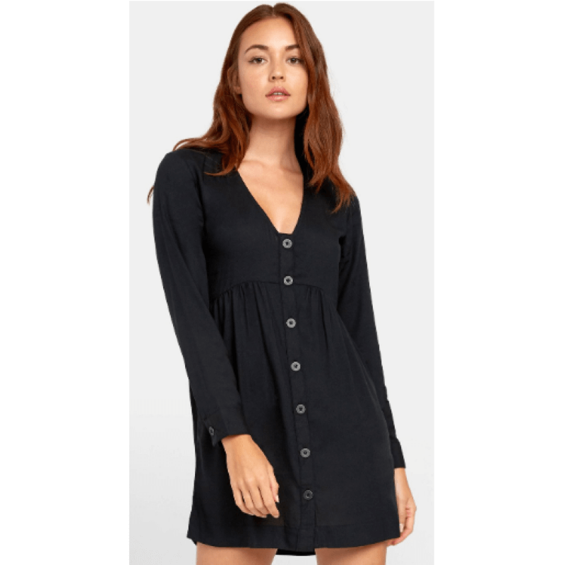 RVCA Harley Womens Black Button-Up Dress