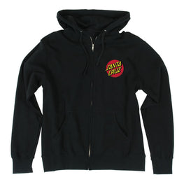 Santa Cruz Classic Dot Zip Hooded Zip Black Sweatshirt