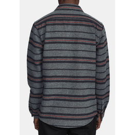 navy grey and red mens rvca stripe flannel shirt