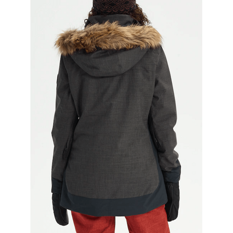 faux fur on hood burton lelah womens black snow jacket