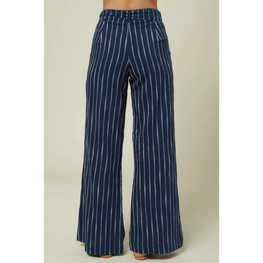 oneill wide leg womens blue and white strip pant