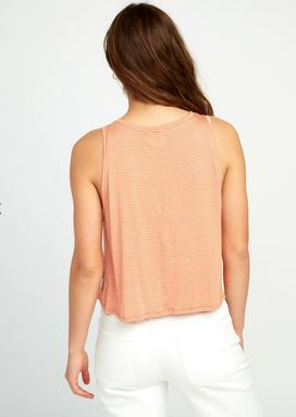 RVCA Happy Place Womens Orange striped Tank Top