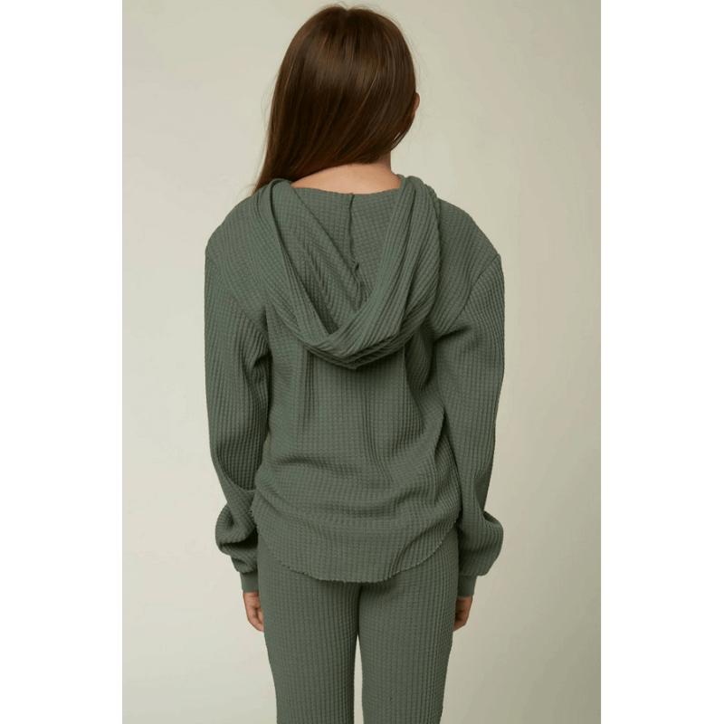 green pullover o'neill wafflel knit thermal girls top