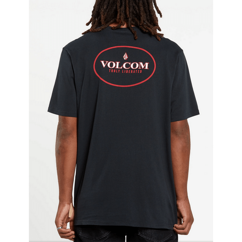 black mens tee volcon large logo on back