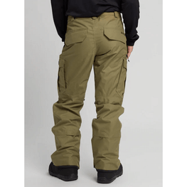 burton green cargo snow pants with flap pockets on back