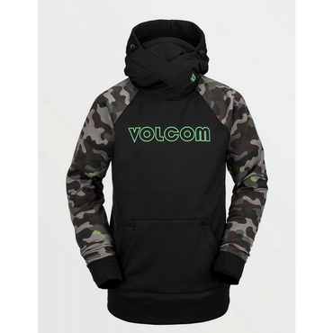 volcom mens hoodie black with volcom logo in green center chest