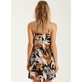 slip dress off black print mini billabong