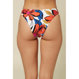 o'neill white swim bottom with largel floral print
