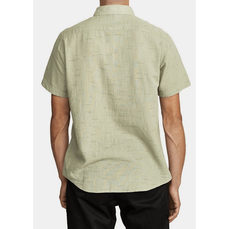 rvca slim fit sage green woven shirt