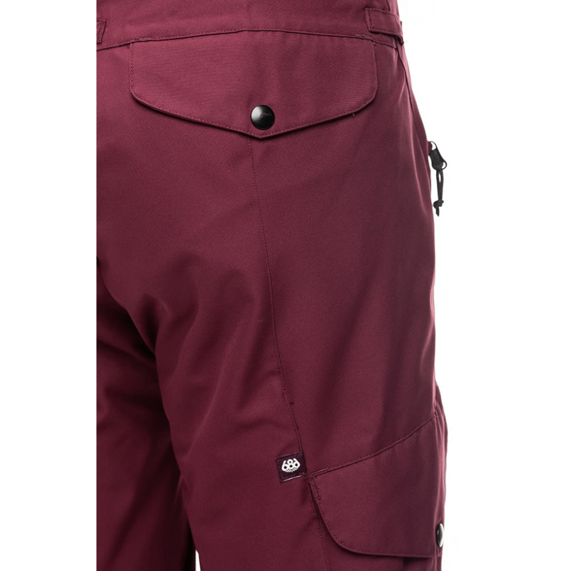 back snap pocket womens misstress plum snow pant