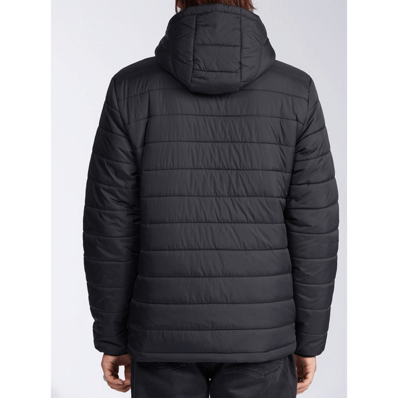 mens black billabong puffer jacket with hood