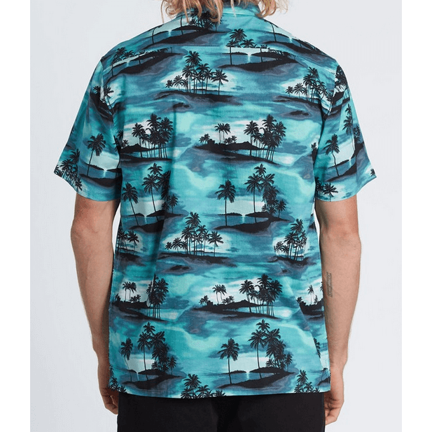 Billabong Sundays Floral Mens Aqua Short Sleeve Shirt