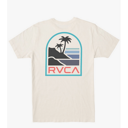 rvca mens white tee with large palm print and logo on back