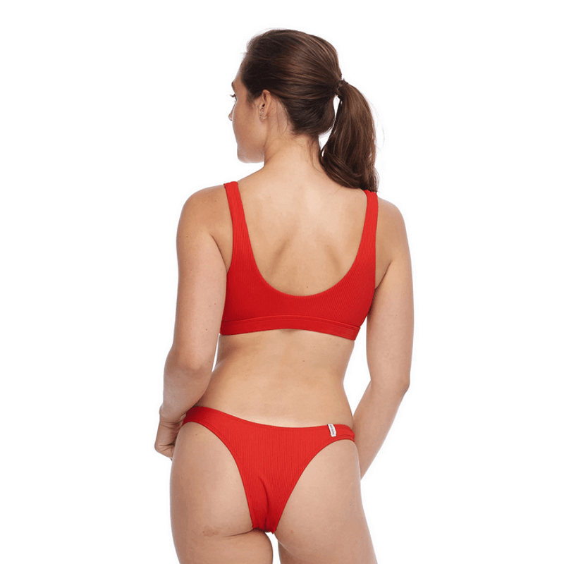 body glove fixed back red swim top