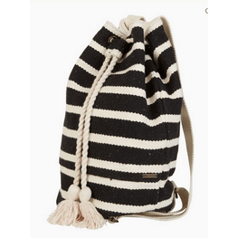 black and white woven womens backpack
