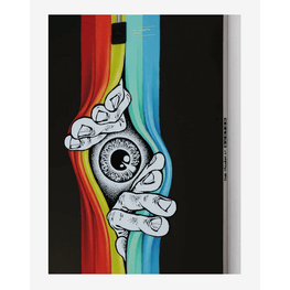 freethinker burton snowboard eyeball peeking with hands graphic