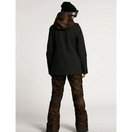 womens volcom black snow jacket with lepord hood