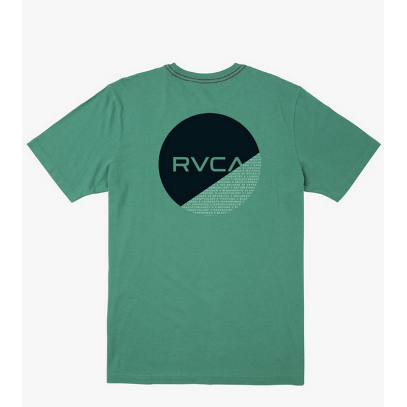 rvca tee green with round large logo on back
