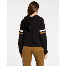 volcom black womens hoodie with stripes on sleeves