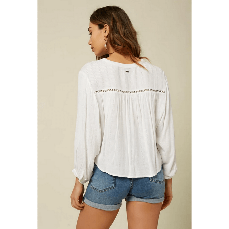 oneill white womens top with eyelet along back yoke