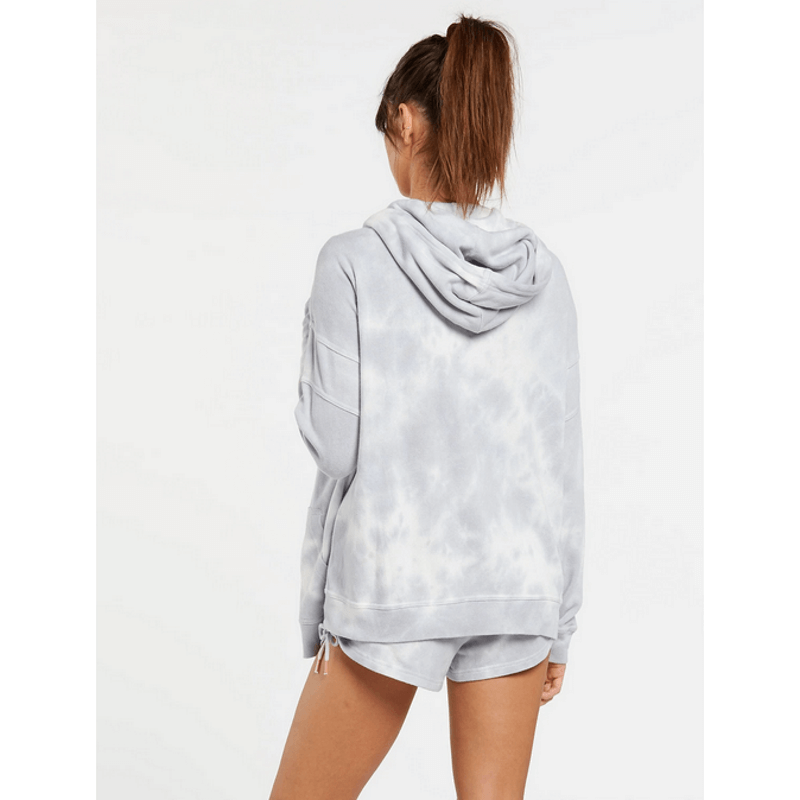 hood volcom womens fleece grey and white
