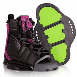 liquid force womens black and pink wake binding with green on bottom