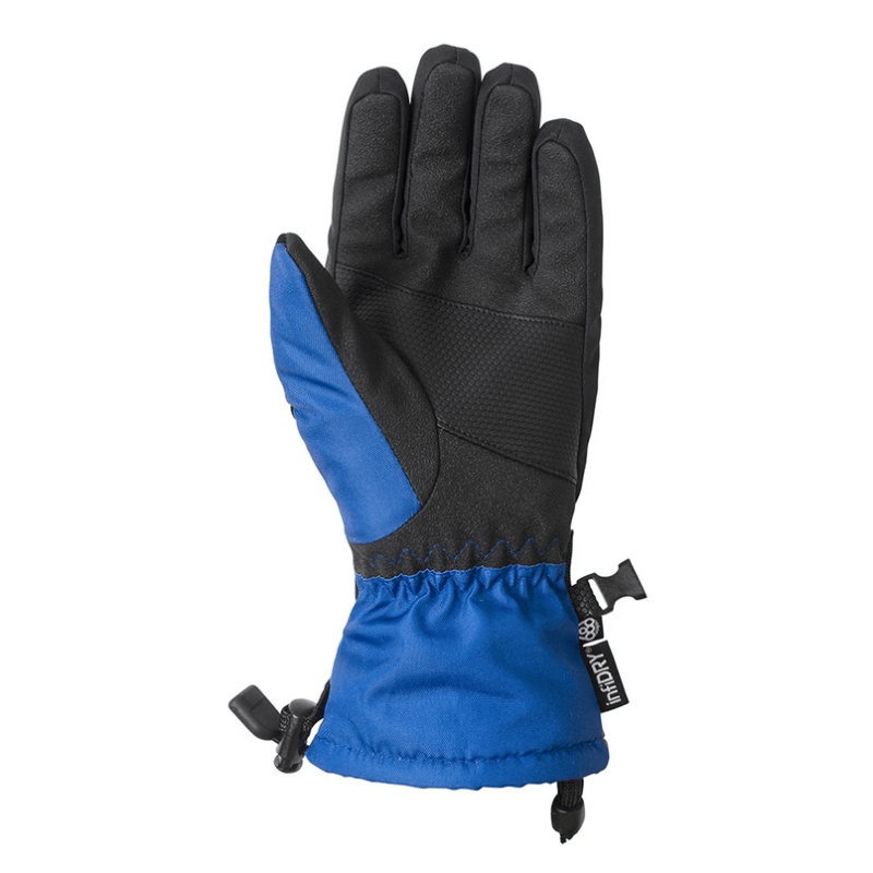 686 kids snow glove with pu palm black and blue