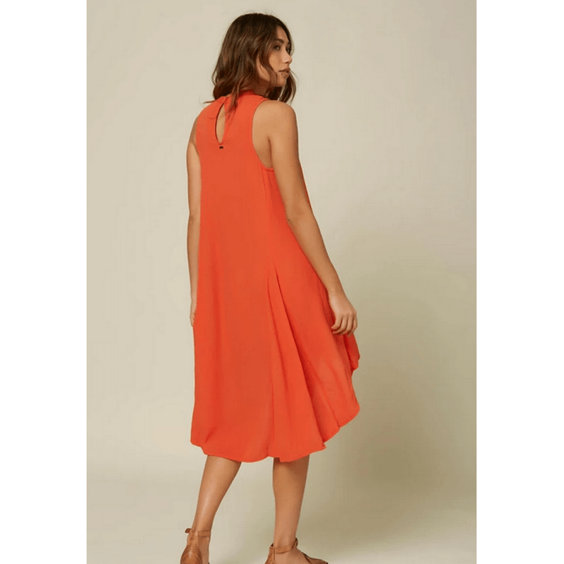 oneill womens red clay dress with hi lo hem