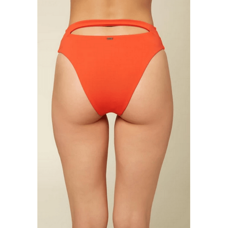 o'neill women hi waist with cut out at back waistbank orange swim bottom