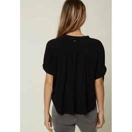 oneill womens black woven top with badge on back neck