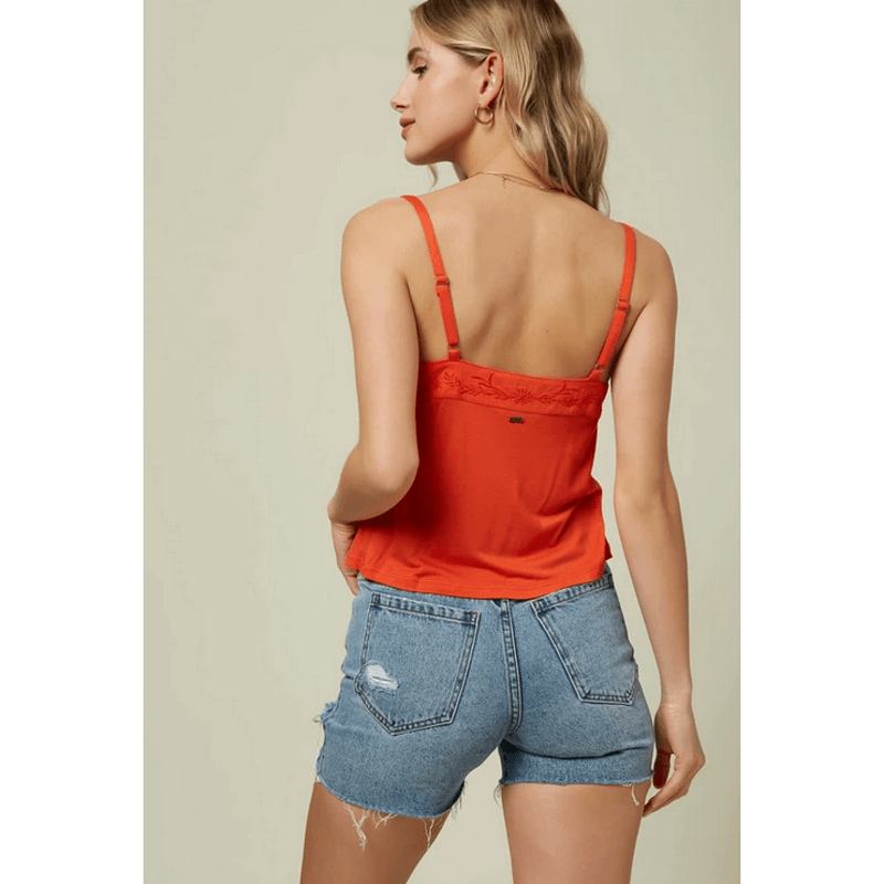 oneill red tank top with embrodery at top of back