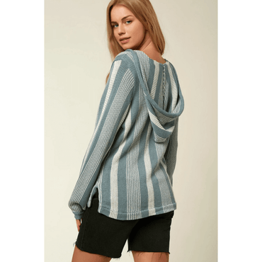 pullover sweater womens blue stripe o'neill campfire