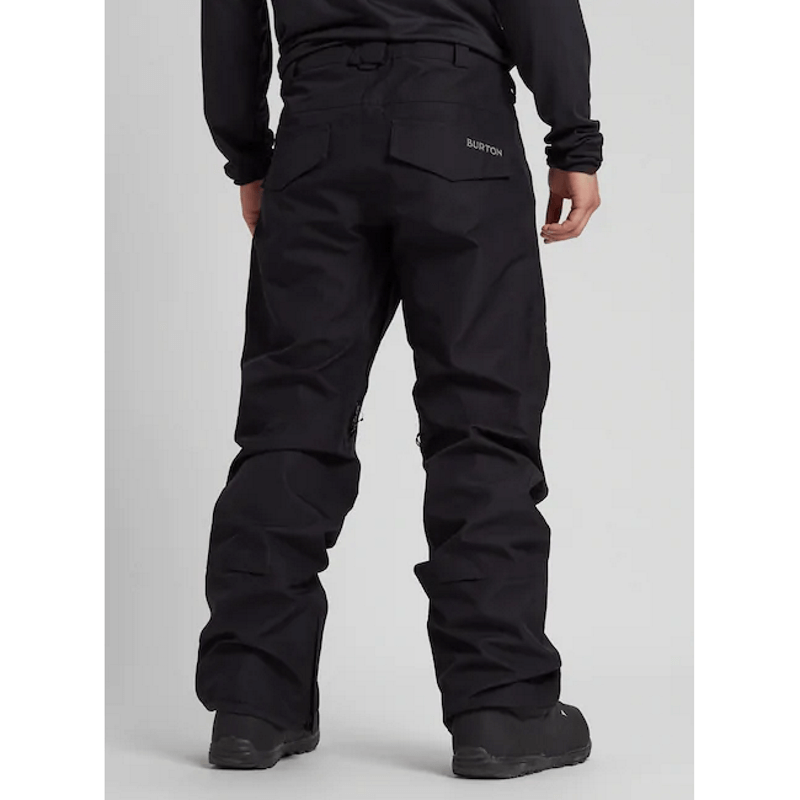 black burton gore-tex mens snow pants with flap pockets on back