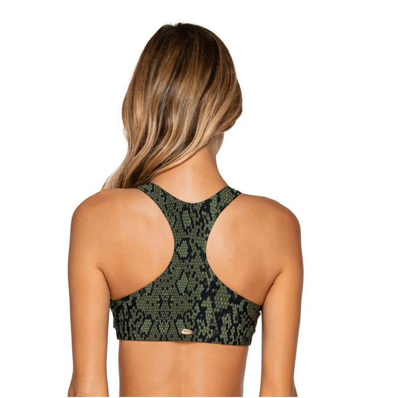 sunsets racer back swim top black and green snake print