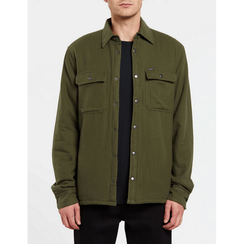 snaps on volcom military green street jacket
