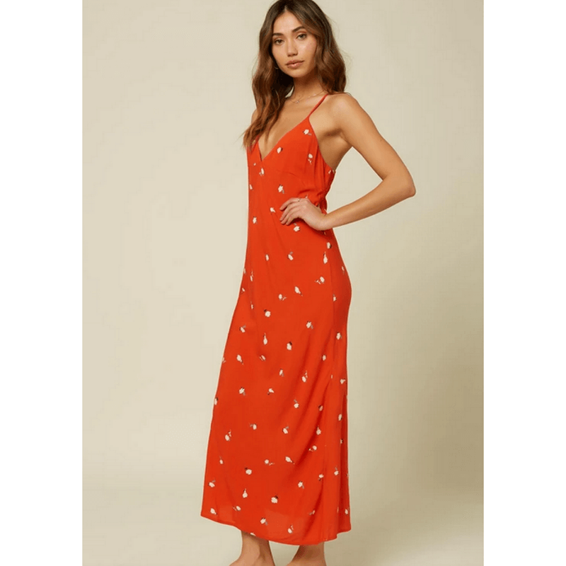 oneill womens woven red midi dress v neck front