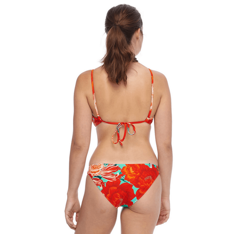 body glove tie back swim top red print