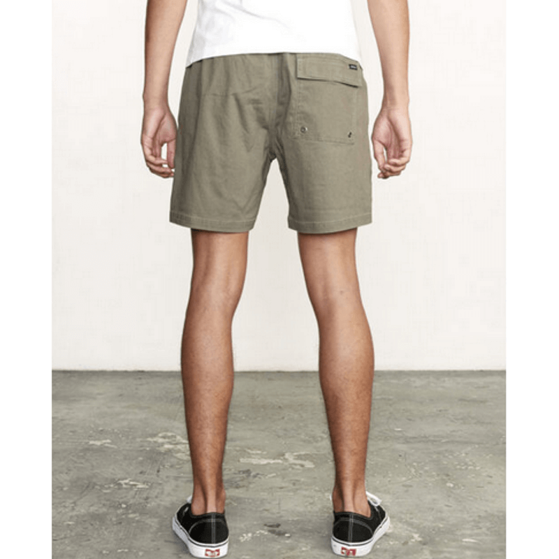 rvca elastic waist olive mens short with flap pockit on back