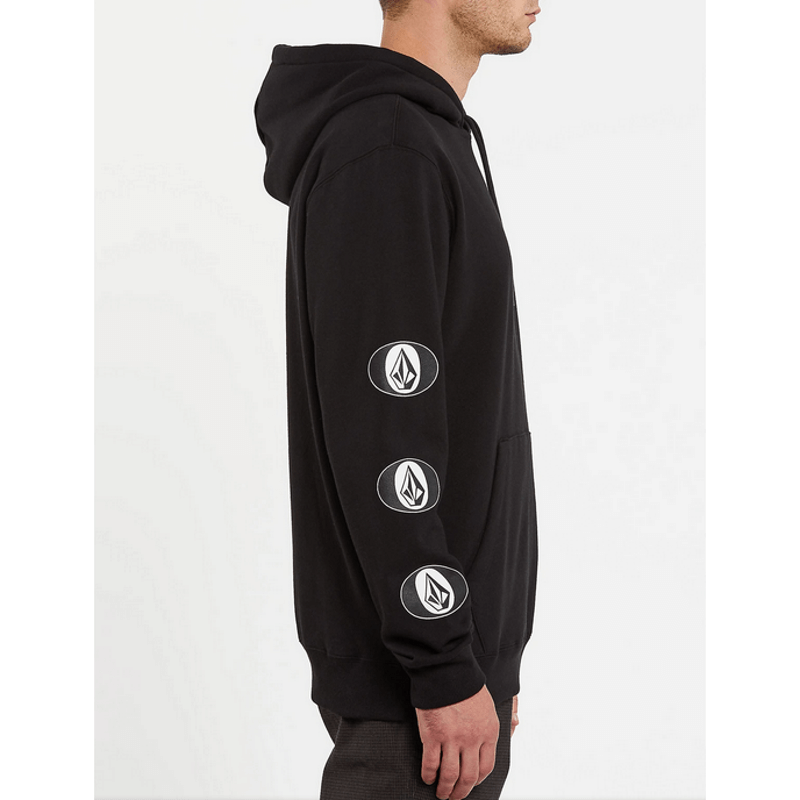volcom black hoodie mens with logo down right sleeve