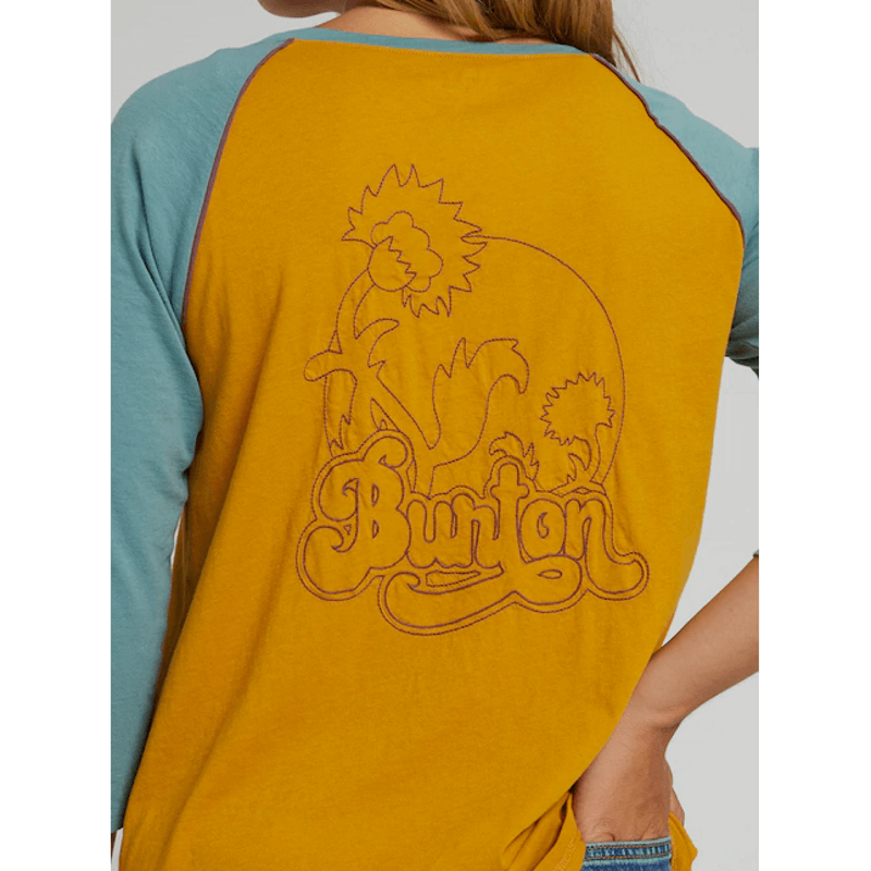 embroidered logo on burton womens raglan tee