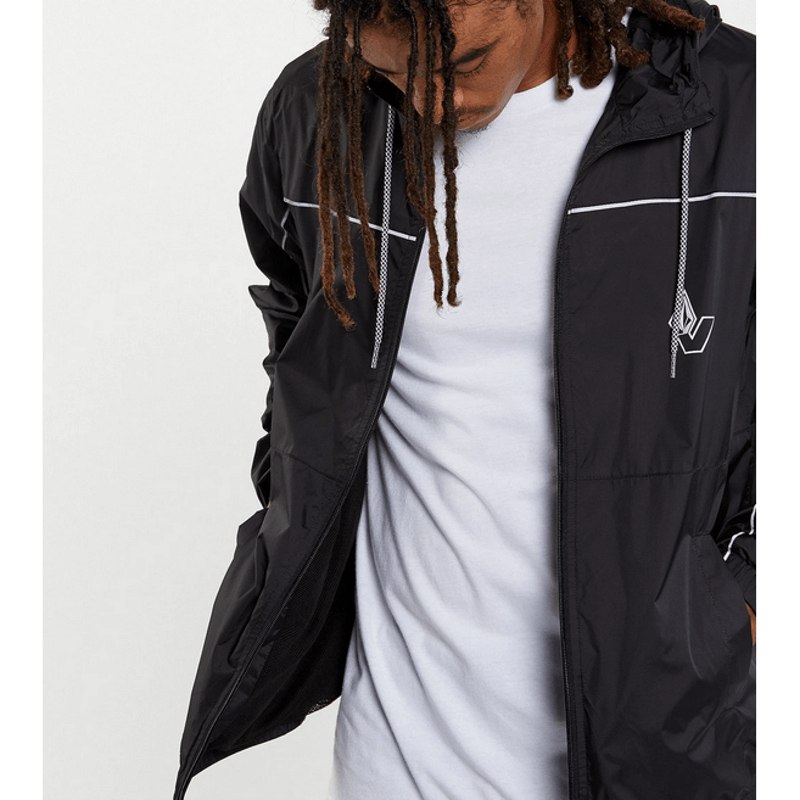 hooded mens black windbreaker volcom