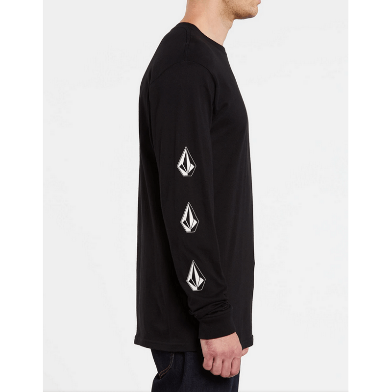 volcom stones down the sleeves in mens black long sleeve t