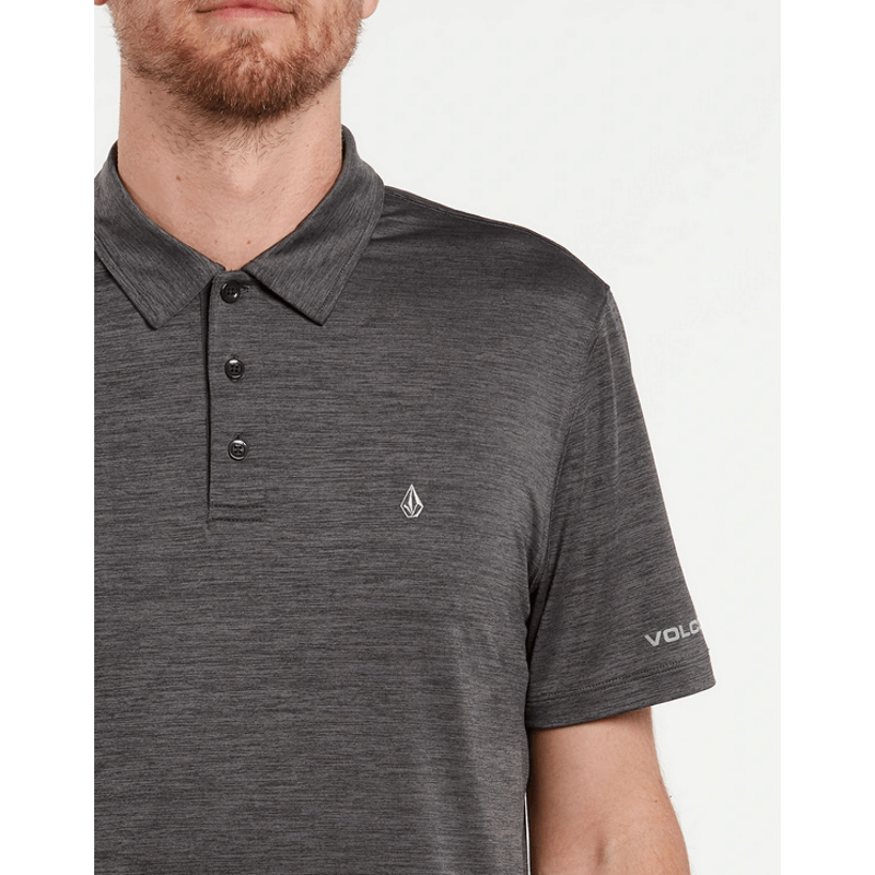 volcom mens black heather polo shiet with logo on left chest and sleeve
