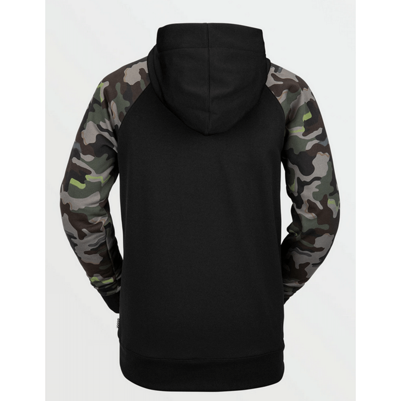 vocom mens black with army camo on sleeves no logo on back