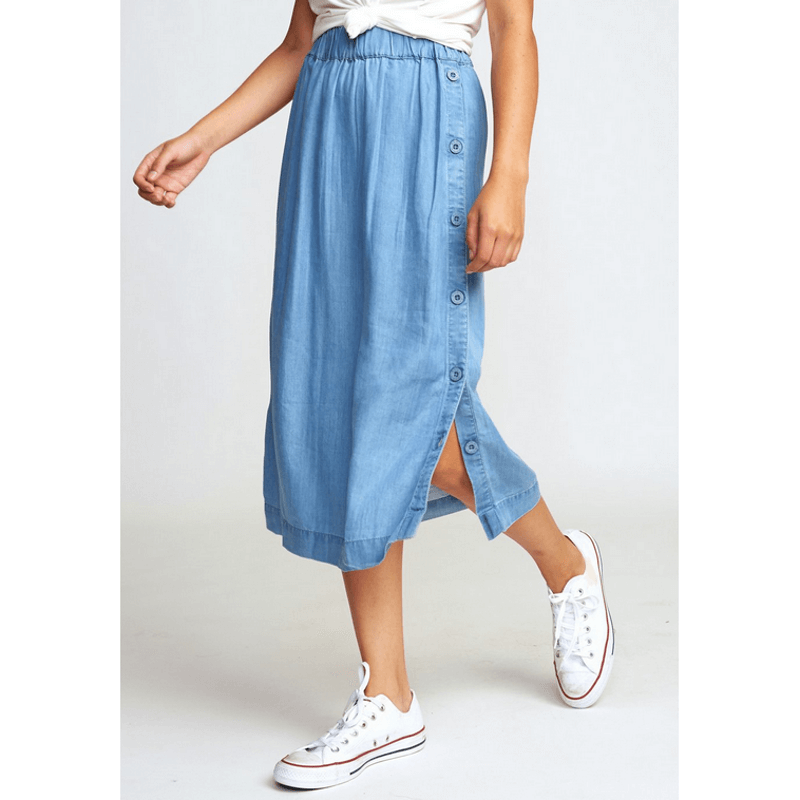 rvca mini skirt with buttoms down side seam chambray