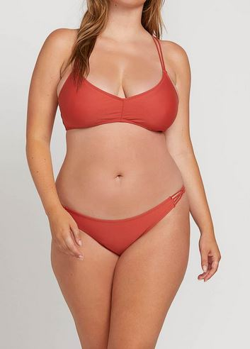 Volcom Simply Solid Womens Burnt Red Full Bikini Bottoms