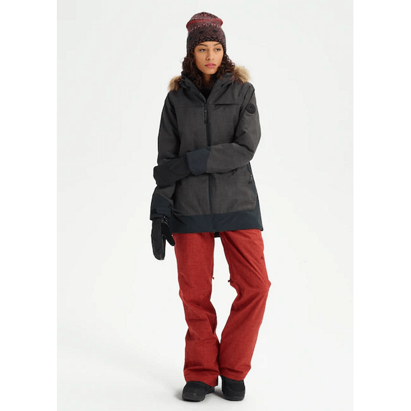 longer fit womens burton black lelah snow jacket
