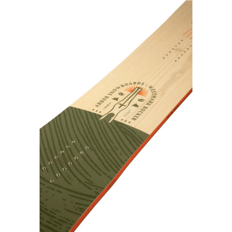 tan and green arbor westmark snowboard