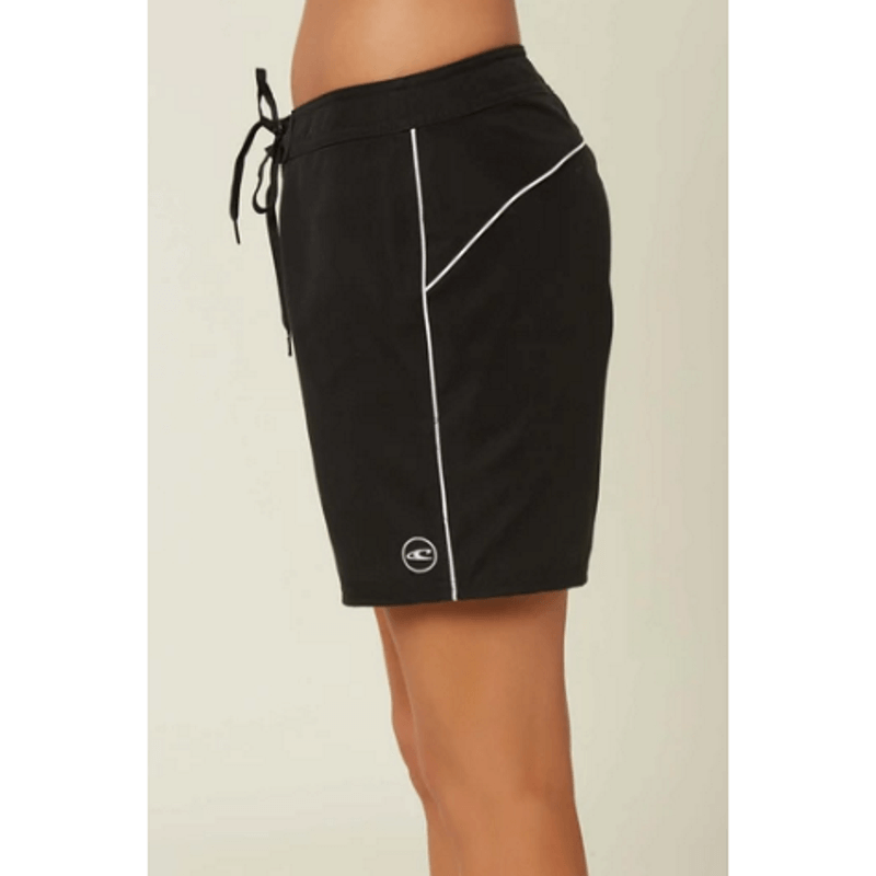 oneill black womens 7 inch boardshort with white piping